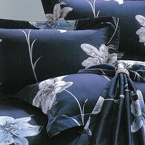 【eyah宜雅】全程台灣製100%精梳純棉雙人加大床罩兩用被全舖棉五件組-香水百合-藍