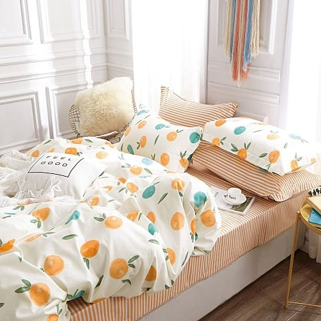 【eyah宜雅】 台灣製200織紗天然純棉新式雙人兩用被加大床包五件組-香橙