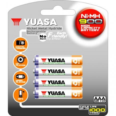 日本湯淺YUASA 鎳氫電池 4號 AAA900*4