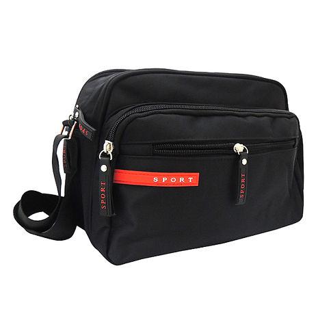 SPORT 黑色素面運動風斜背包 V-8610-服飾‧鞋包‧內著‧手錶-myfone購物