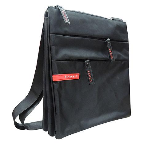 SPORT 黑色素面三層斜背包 V-9866-服飾‧鞋包‧內著‧手錶-myfone購物