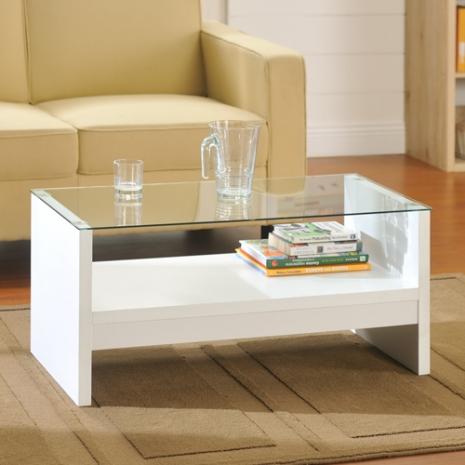 特賣↘【德萊妮】簡約安全玻璃茶几桌(白色)
