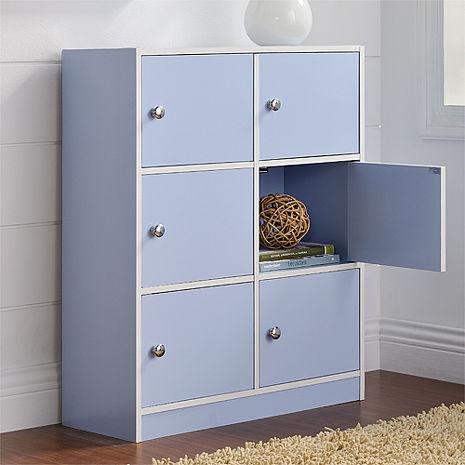 特賣↘【德萊妮】DIY輕鬆收納六門櫃/書櫃/置物櫃/收納櫃(藍色)