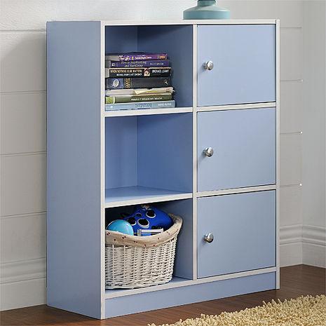 特賣↘【德萊妮】DIY輕鬆收納六格三門櫃/書櫃/置物櫃/收納櫃(藍色)
