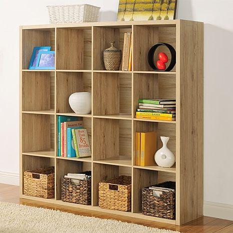 特賣↘【德萊妮】時尚設計十六格櫃/書櫃/置物櫃/收納櫃/隔間櫃(淺橡色)
