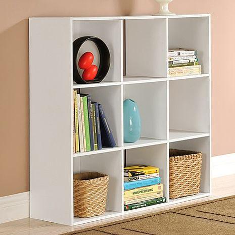 特賣↘【德萊妮】DIY菲爾九格櫃/展示櫃/書櫃/收納櫃/隔間櫃(白色)