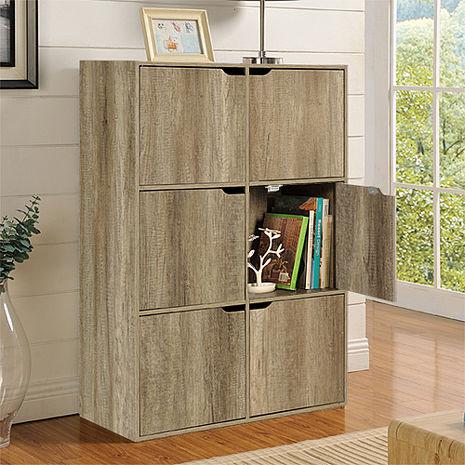 特賣↘【德萊妮】DIY布魯斯六門櫃/書櫃/置物櫃/收納櫃 (深橡色)
