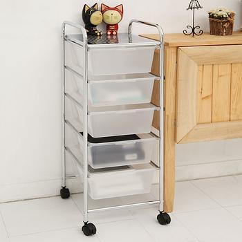 【ikloo】 可移式五層白色抽屜收納箱/收納盒尊爵黑