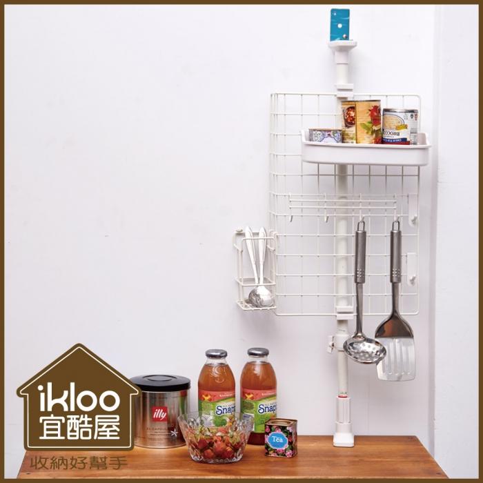 特價【ikloo】頂天立地雙桿廚房檯面收納架