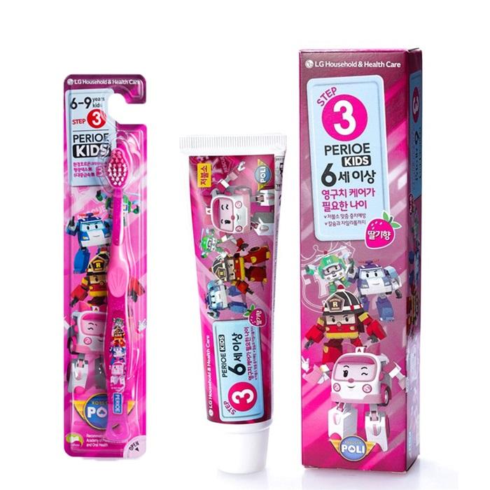 倍麗兒 波力 V型潔牙 兒童牙刷 (6歲以上-女)5入+牙膏(草莓口味)2入 /組