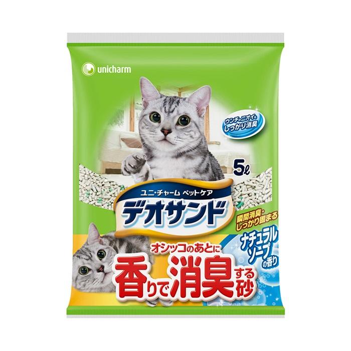 日本Unicharm消臭大師尿尿後消臭貓砂-肥皂香5L×2入