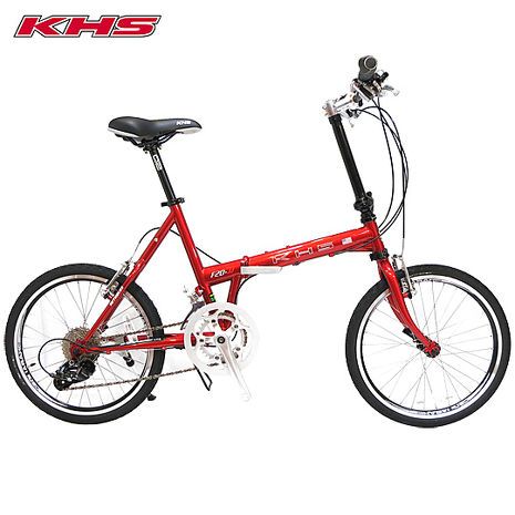 KHS-功學社 F20-JJ 20吋16速50-34T鉻鉬鋼折疊單車-嬌紅