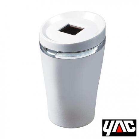 【日本槌屋YAC】寬口徑太陽能LED煙灰缸 (汽車 車用 收納置物 菸灰缸 垃圾桶)