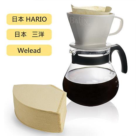Hario & Welead 4人份 陶瓷玻璃濾杯組(附贈 日本三洋102濾紙 100入)
