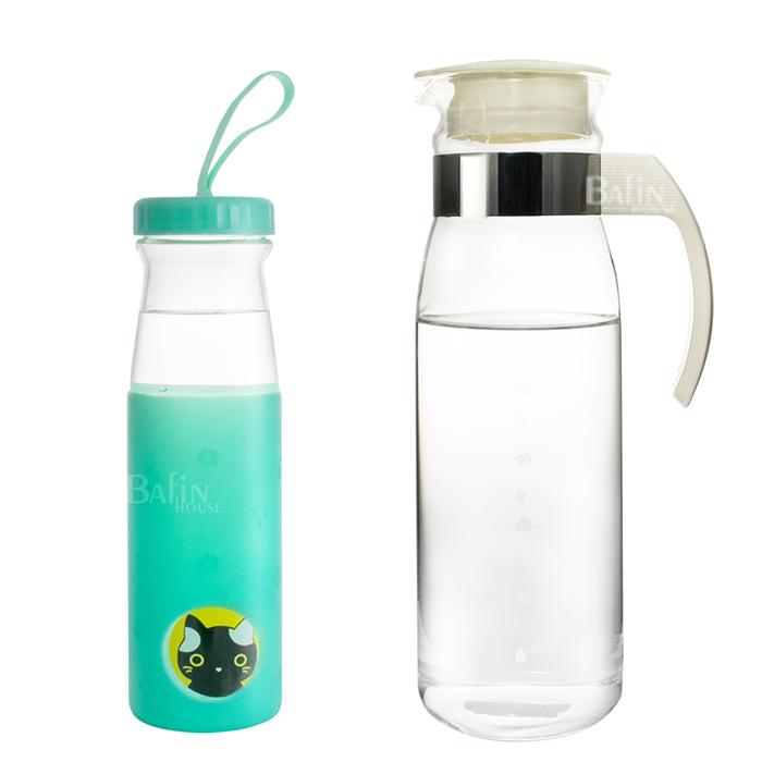 【日本 HARIO】耐熱冷水壺1400ml +【Quasi】耐熱玻璃隨身瓶 600ml