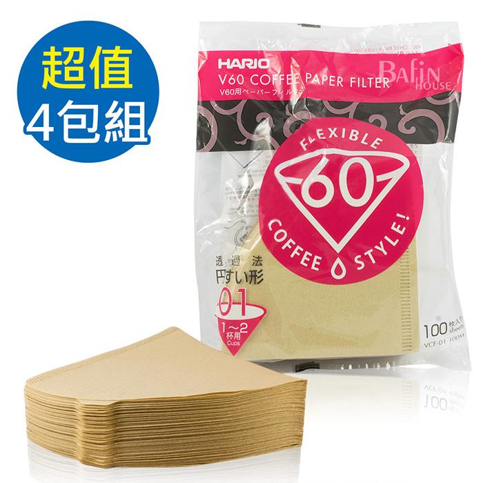 【HARIO】V60 日本製 2人份無漂白濾紙 400張(VCF-01-100M*4)-居家日用.傢俱寢具-myfone購物