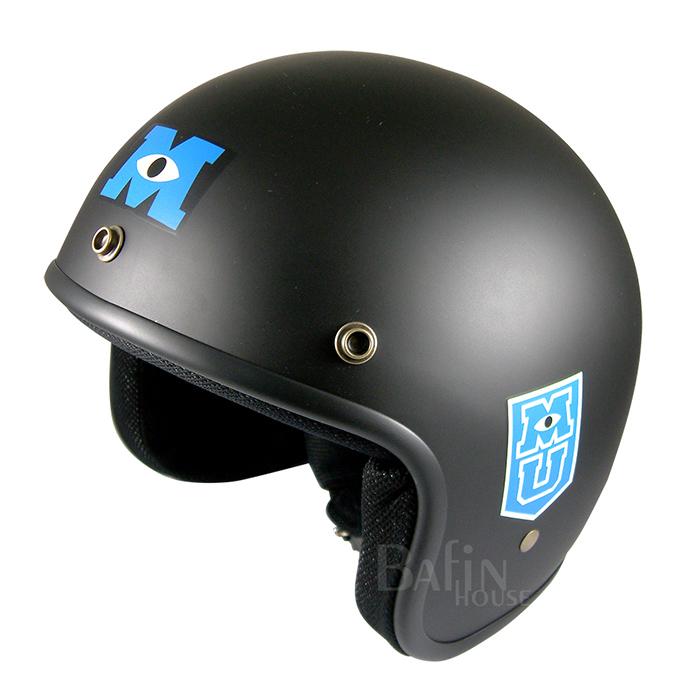 怪獸大學 藍毛怪獸 半罩式 成人安全帽-黑色底(CA309-82 BLK)