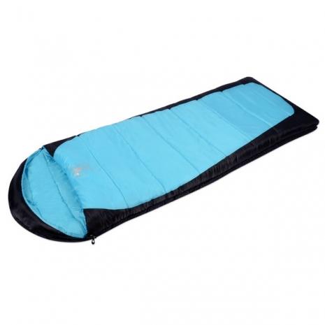 【APC】秋冬加長加寬可拼接全開式睡袋(雙層七孔棉)-藍黑色