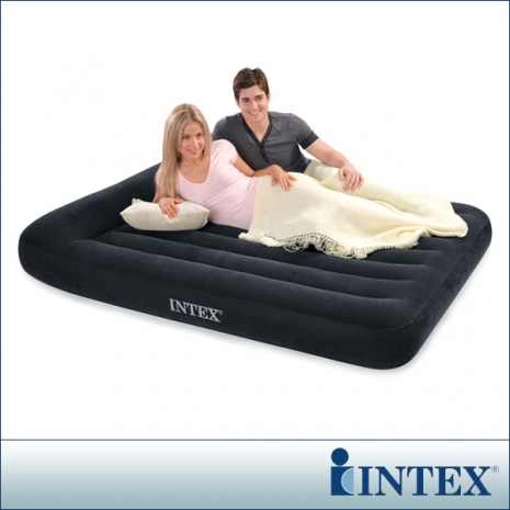 INTEX《舒適型》雙人植絨充氣床墊(寬137cm)-有頭枕
