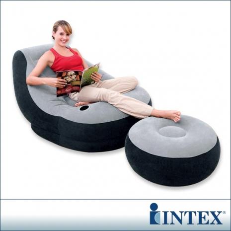 INTEX《懶骨頭》單人充氣沙發椅附腳椅-灰色(68564)