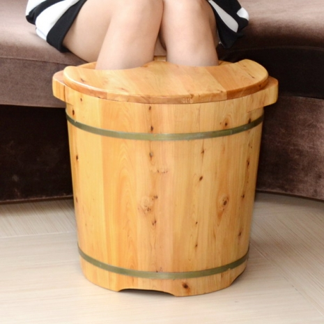 【LIFECODE】養生香柏木高腳泡腳桶(足浴桶)-附蓋子