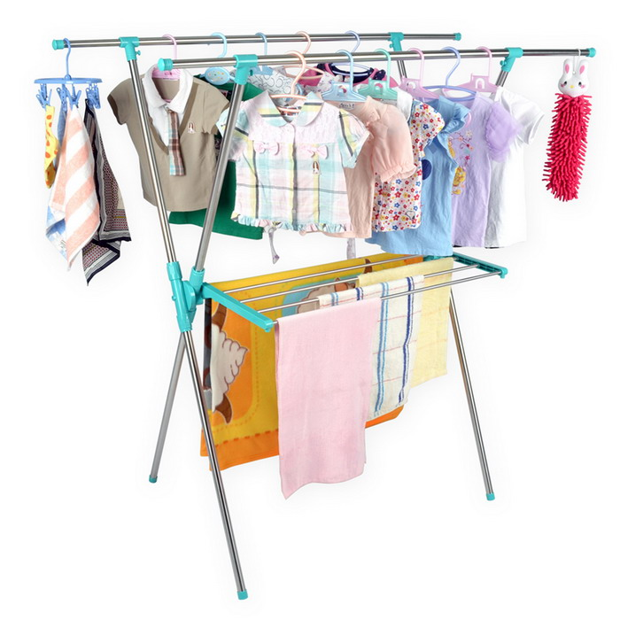 【LIFECODE】小太陽-免螺絲X型曬衣架附毛巾架(帝芬妮藍) 送曬鞋架