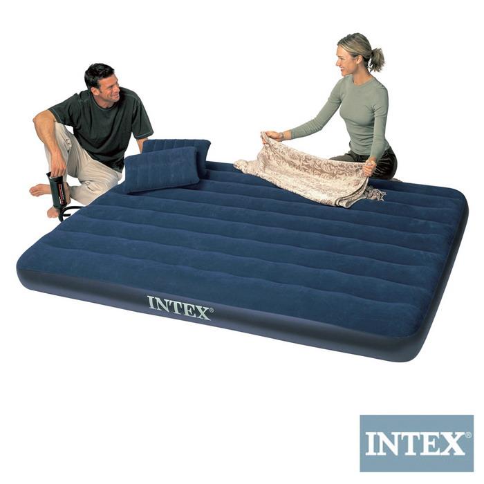 【INTEX】雙人加大植絨充氣床墊(寬152cm)-特惠組合(附手壓幫浦+枕頭*2)