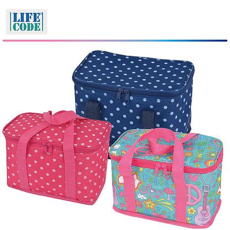 LIFECODE《小丸子》保冰袋/小冰包/便當袋 (6L) 深藍/ 桃紅/ LOVE花布 (3色可選)桃紅色