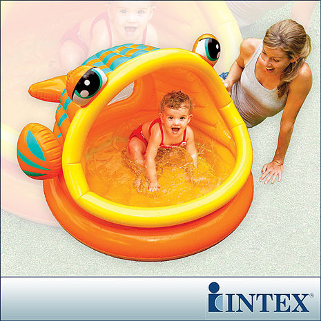 【INTEX】BABY金魚游泳池/遮陽嬰兒水池(53L)(57109)