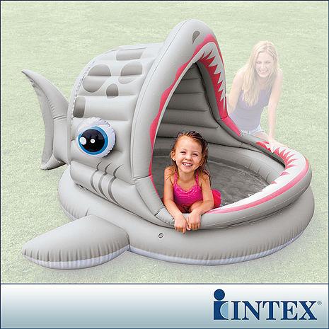 【INTEX】BABY鯊魚游泳池/遮陽戲水池(201*198)(121L)