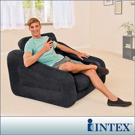 【INTEX】二合一單人充氣沙發床/沙發椅-黑色(68565)