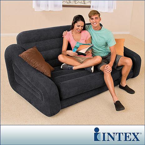 【INTEX】二合一雙人超大充氣沙發床(黑色)