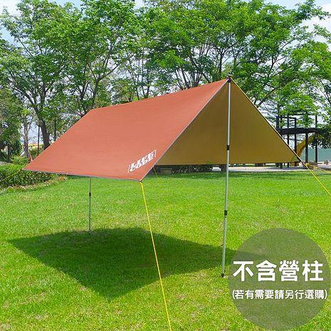 【LIFECODE】兩用塗銀布300*300cm/抗UV天幕帳布/地席布-咖啡色 (附地釘營繩)