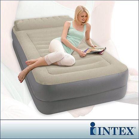 限量促銷↘【INTEX】豪華雙層有頭枕單人加大充氣床-寬99cm (附電動幫浦) (67775)