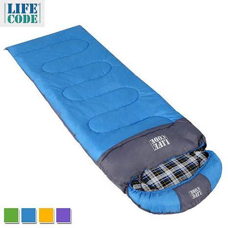 LIFECODE《純棉格子》秋冬加寬可拼接全開式睡袋 (4色可選)綠色
