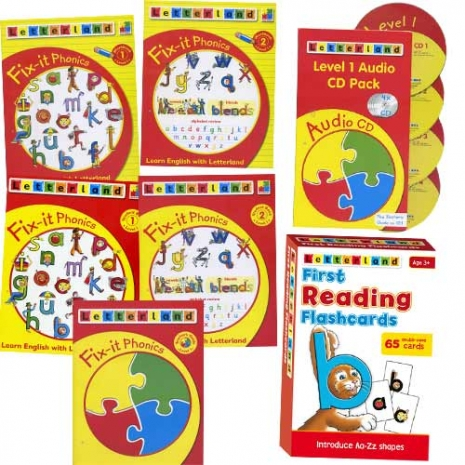 【Letterland】Fix-it Level 1─Student pack + 4CD + Teachers guide + First Reading Flashcards