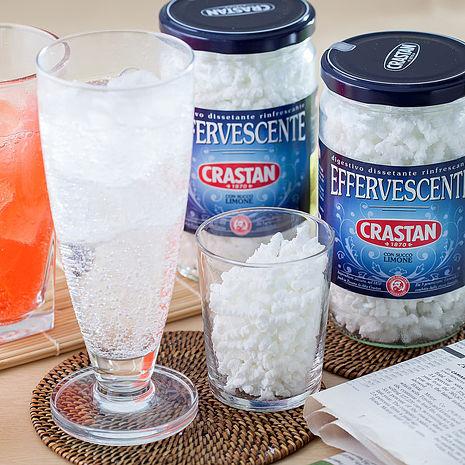 【義大利原裝CRASTAN可洛詩丹】檸檬氣泡礦泉晶粒250gX2罐-蘇打水氣泡水(加贈蜜桃茶X2包)
