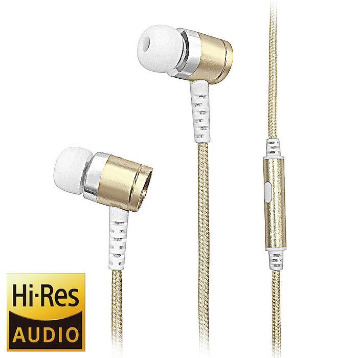 【Cyberdrive】 Hi-Res 高解析 FORTE Impact Dura Bass 重低音 編織線 金屬 入耳式耳機(時尚香檳金/沉穩深空灰)1入-3C電腦週邊-myfone購物