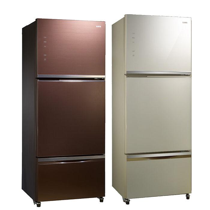 聲寶 SAMPO 530公升AIE 變頻智慧節能玻璃三門冰箱 SR-P53GDV(R7)/SR-P53GDV(Y5)香檳金