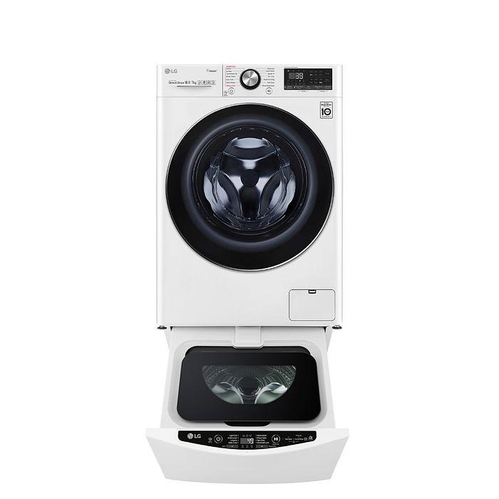 LG樂金滾筒洗脫烘10.5公斤+下層2公斤洗衣機WD-S105VDW+WT-D200HW