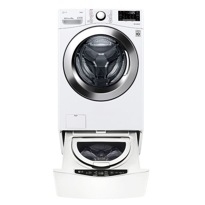 LG樂金18公斤滾筒蒸洗脫+2.5公斤溫水下層洗衣機WD-S18VCW+WT-D250HW