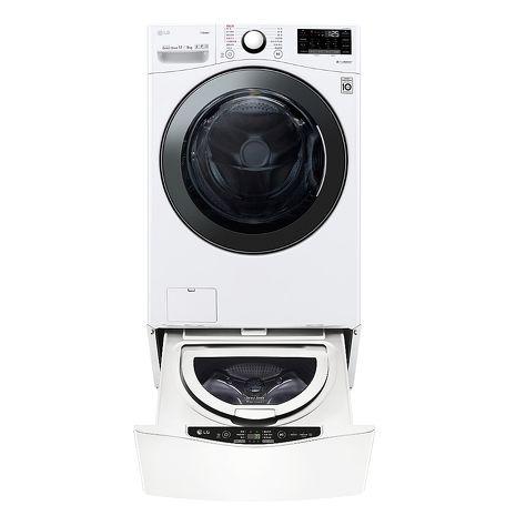 LG樂金17公斤滾筒蒸洗脫烘白色+2.5公斤溫水下層洗衣機WD-S17VBD+WT-D250HW