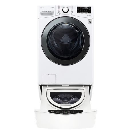 LG樂金18公斤滾筒蒸洗脫烘白色+2.5公斤溫水下層洗衣機WD-S18VBD+WT-D250HW
