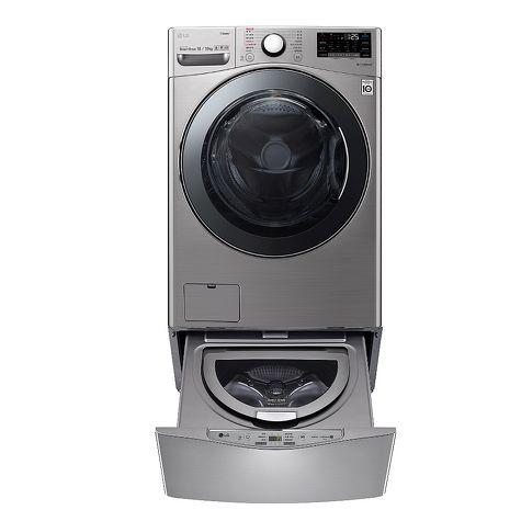 送王品餐券5張★LG樂金18公斤滾筒蒸洗脫烘星辰銀+2.5公斤溫水下層洗衣機WD-S18VCM+WT-D250HV