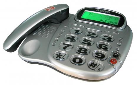 三洋 超大字鍵來電顯示有線電話TEL-539(銀)