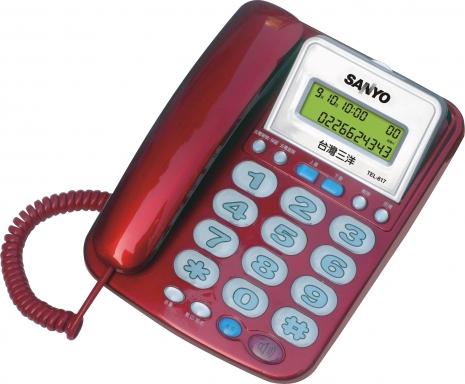 三洋 來電顯示有線電話TEL-817(紅)