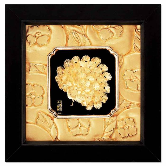 鹿港窯-立體金箔畫-富貴吉祥(如意系列24x24cm)