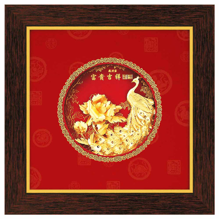 鹿港窯-立體金箔畫-富貴吉祥(圓形系列21x21cm)