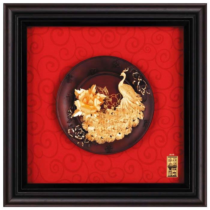 鹿港窯-立體金箔畫-富貴吉祥(圓盤系列23x23cm)