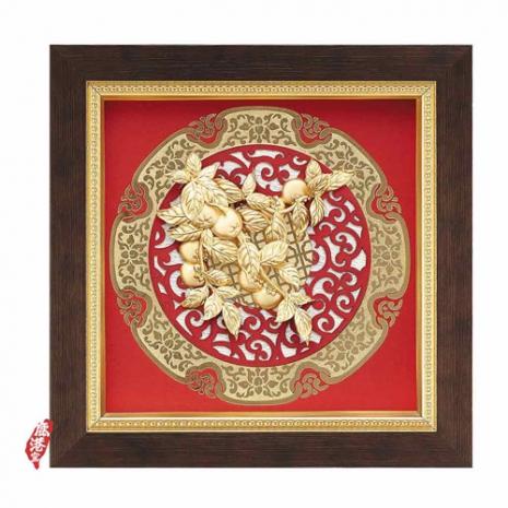 鹿港窯-立體金箔畫-事事如意(圓形窗花系列20.5x20.5cm)
